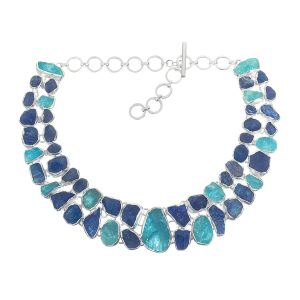Tanzanite And Aquamarine Statement Handmade Ladies Sterling Silver Necklace