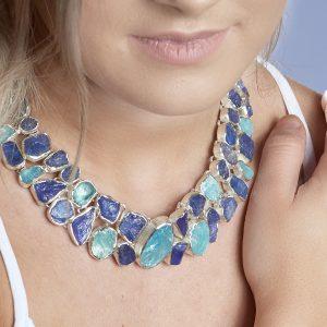Tanzanite And Aquamarine Statement Handmade Ladies Sterling Silver Necklace
