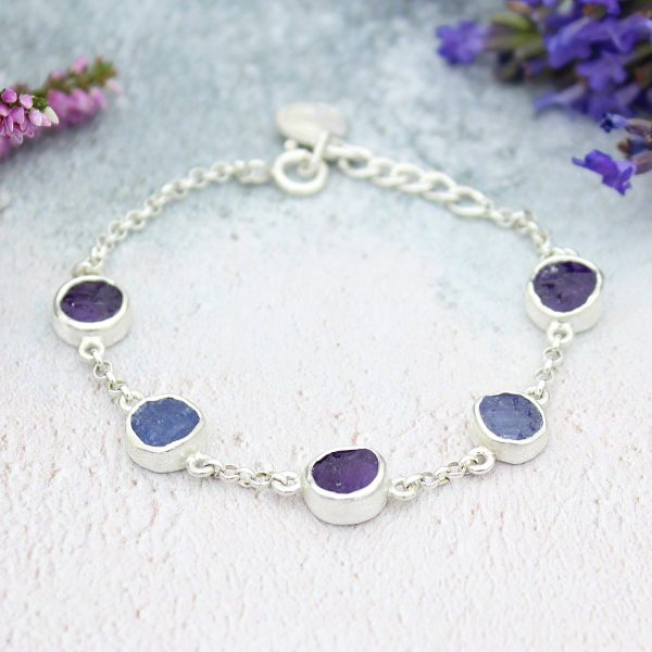 Amethyst And Tanzanite Gemstone Handmade Sterling Silver Ladies Bracelet