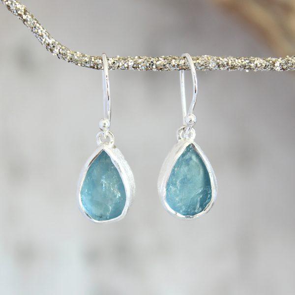 Aquamarine Gemstone Drop Ladies Sterling Silver Earrings