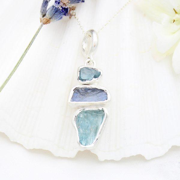 Aquamarine And Moonstone Natural Gemstone Sterling Silver Ladies Pendant