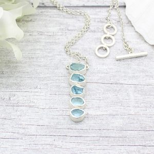 Aquamarine Gemstone Handmade Long Length Sterling Silver Necklace