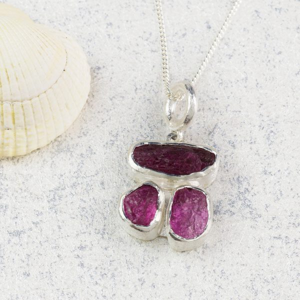Pink Tourmaline Gemstone Handmade Ladies Silver Pendant