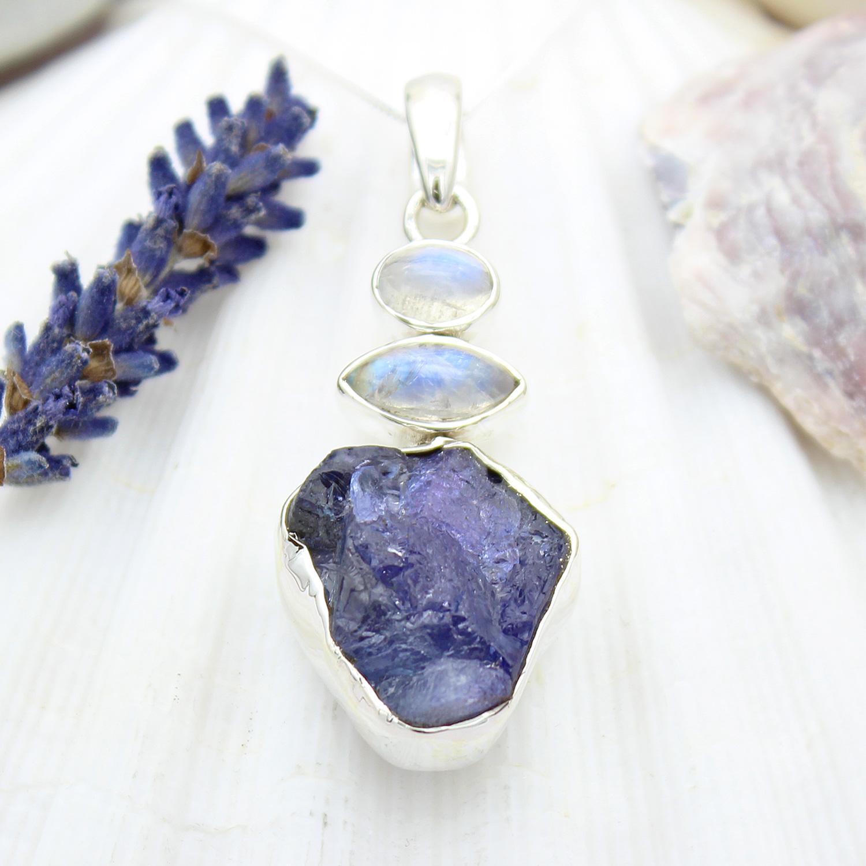 ffd9de38af0f5 Tanzanite and Moonstone Natural Gemstone Ladies Sterling Silver Pendant