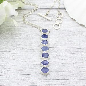 Tanzanite Gemstone Handmade Long Sterling Silver Ladies Necklace