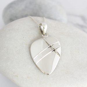 Coastal Polished Pebble Sterling Silver Ladies Pendant