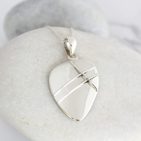 Coastal Polished Pebble Sterling Silver Ladies Pendant