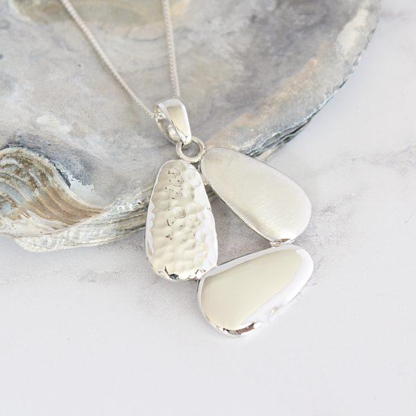 Coastal Three Pebble Textured Sterling Silver Pendant