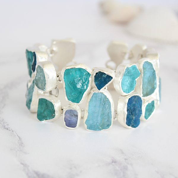 Unique Handmade Ladies Aquamarine, Apatite & Tanzanite Gemstone Statement Bracelet