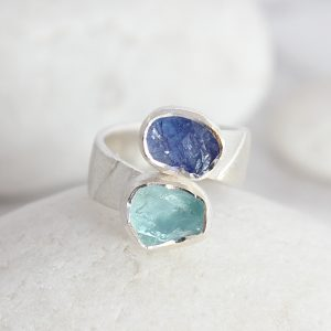 Aquamarine and Tanzanite Gemstone Ladies Chunky Statement Adjustable Silver Ring