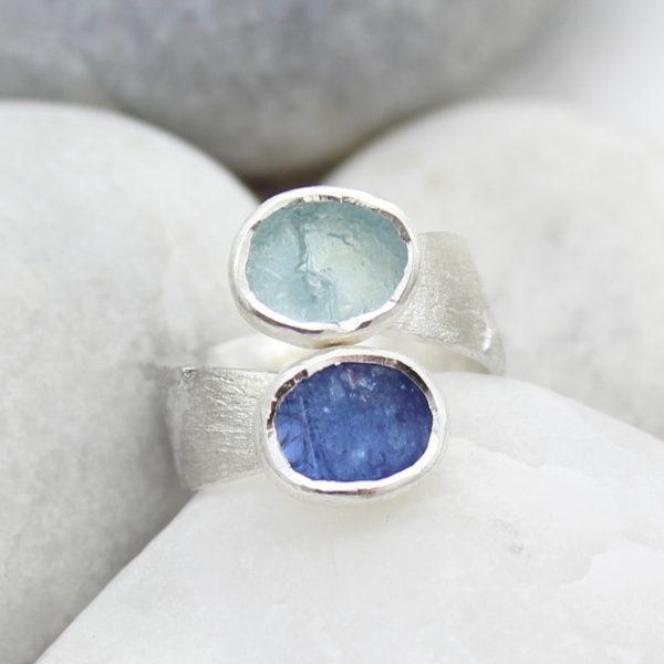Aquamarine and Tanzanite Gemstone Ladies Chunky Statement Adjustable Silver Ring