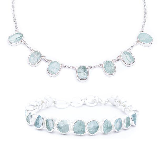 Aquamarine Handmade Designer Ladies Necklace And Bracelet Jewellery Set