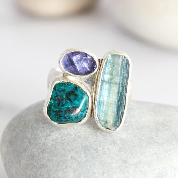 Kyanite, Tanzanite And Chrysocolla Gemstone Sterling Silver Ladies Ring