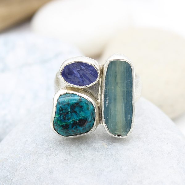 Kyanite, Tanzanite And Chrysocolla Gemstone Sterling Silver Ladies Ring