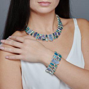 Statement Apatite, Tanzanite & Kyanite Gemstone Necklace & Bracelet Set