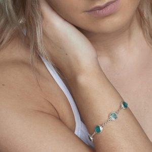 Apatite Gemstone Handmade Sterling Silver Ladies Bracelet