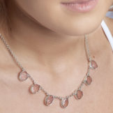 Rose Quartz Gemstone Sterling Silver Ladies Necklace