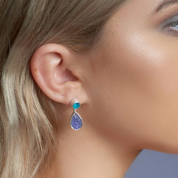 Tanzanite And Apatite Gemstone Handmade Silver Earrings