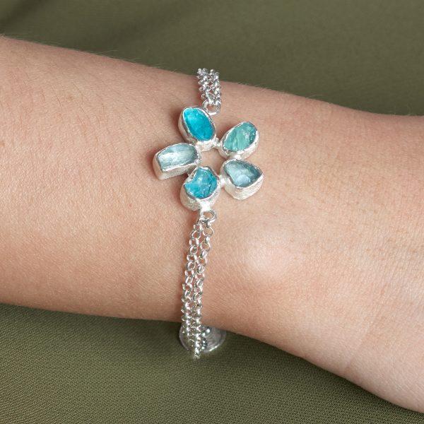 Aquamarine and Apatite Gemstone Handmade Sterling Silver Bracelet