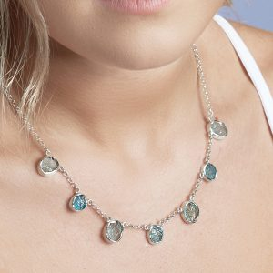 Aquamarine and Apatite Gemstone Handmade Sterling Silver Ladies Necklace