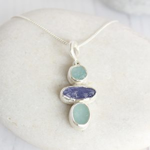 Aquamarine And Tanzanite Gemstone Handmade Ladies Sterling Silver Pendant