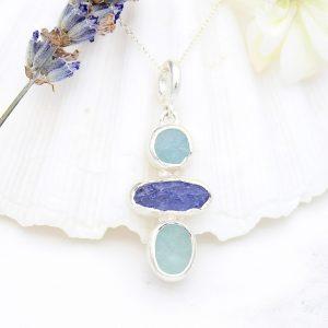 Aquamarine And Tanzanite Gemstone Handmade Ladies Sterling Silver Pendant