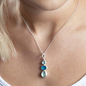 Aquamarine And Apatite Natural Gemstone Ladies Sterling Silver Pendant