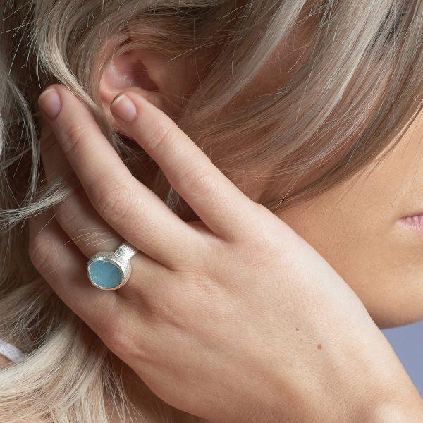 Aquamarine Natural Gemstone Chunky Silver Ring