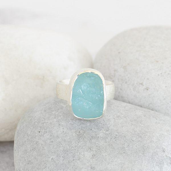 Aquamarine Handmade Natural Gemstone Ladies Chunky Sterling Silver Ring