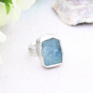 Aquamarine Handmade Natural Gemstone Ladies Chunky Sterling Silver Ring