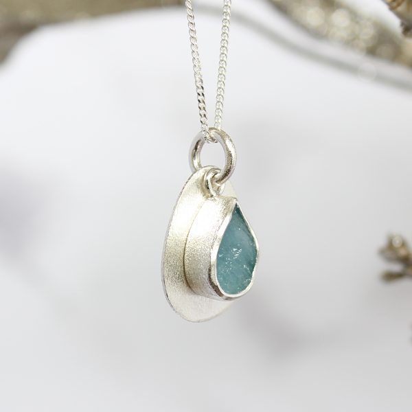 Coastal Aquamarine Gemstone Pebble Pendant Necklace