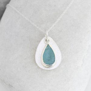 Coastal Aquamarine Gemstone Pebble Ladies Sterling Silver Handmade Pendant Necklace