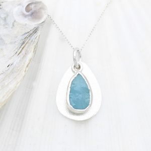 Coastal Aquamarine Gemstone Pebble Ladies Sterling Silver Handmade Pendant Necklace