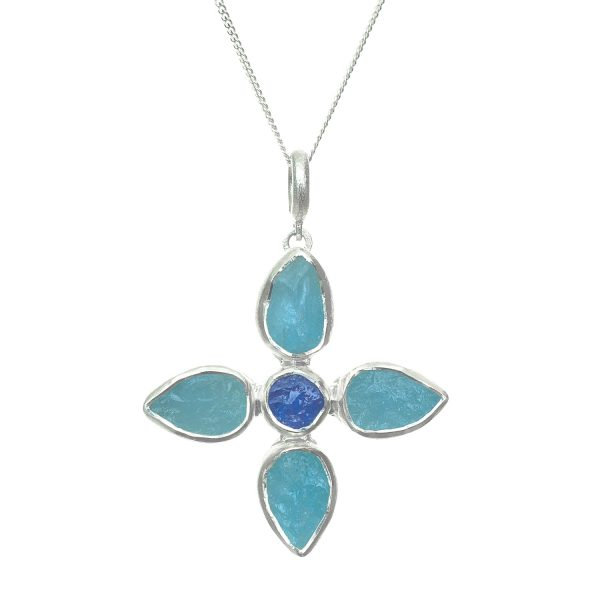 Aquamarine and tanzanite flower silver pendant