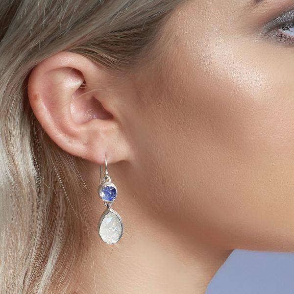 Handmade Moonstone and Tanzanite Gemstone Sterling Silver Ladies Earrings