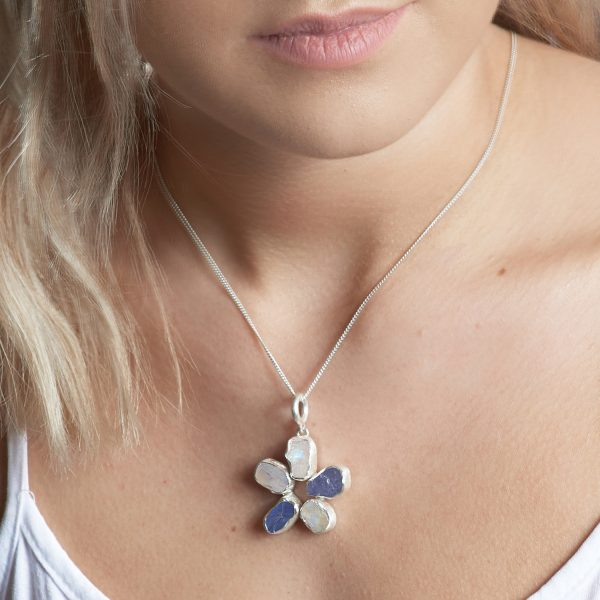 Handmade Moonstone and Tanzanite Gemstone Flower Ladies Pendant