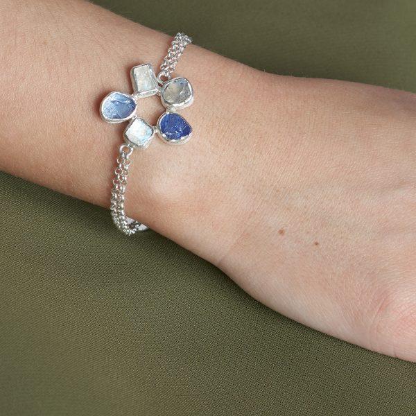 Moonstone and Tanzanite Gemstone Handmade Sterling Silver Bracelet