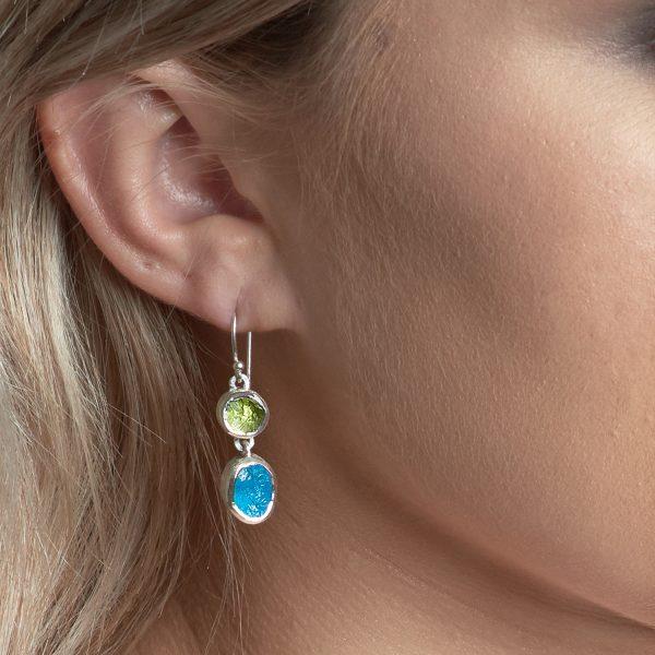 peridot and apatite handmade gemstone earrings