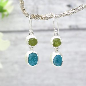 Apatite and Peridot Gemstone Handmade Silver Earrings