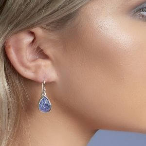 tanzanite gemstone ladies silver earrings