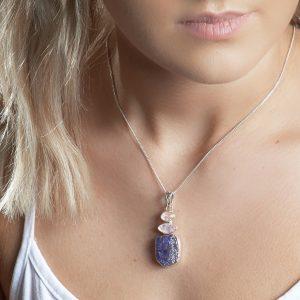 Tanzanite and Moonstone Natural Gemstone Ladies Sterling Silver Pendant
