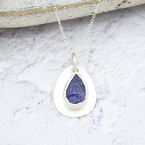Coastal Tanzanite Gemstone Pebble Pendant Necklace
