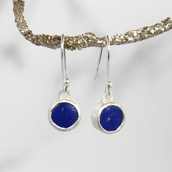 Lapis Lazuli Round Gemstone Handmade Sterling Silver Ladies Earrings