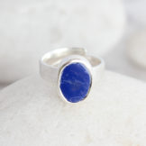 Lapis Lazuli Natural Gemstone Handmade Ladies Sterling Silver Ring