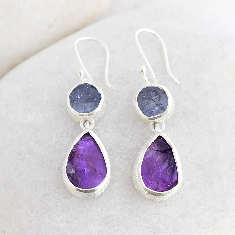 cc47d8aab Handmade Amethyst and Tanzanite Gemstone Sterling Silver Ladies Earrings