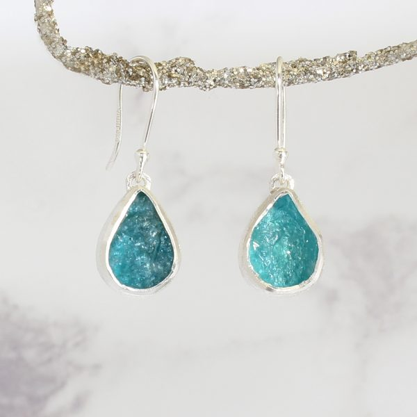 Apatite Gemstone Handmade Sterling Silver Ladies Earrings