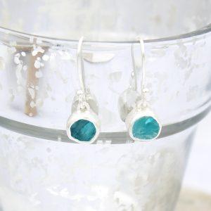Apatite Round Gemstone Handmade Sterling Silver Ladies Earrings