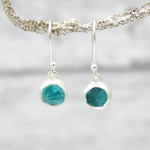 Apatite Round Gemstone Handmade Sterling Silver Ladies Earrings