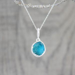Apatite Natural Gemstone Handmade Ladies Silver Pendant