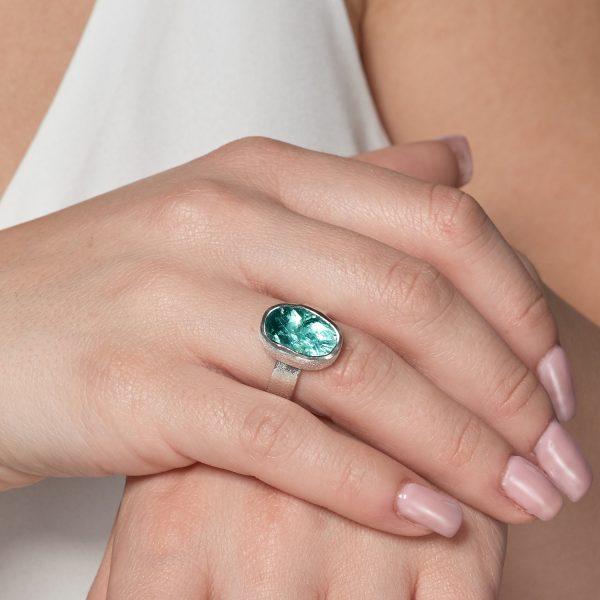 Apatite Natural Gemstone Handmade Ladies Sterling Silver Ring